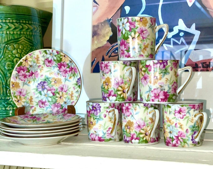 Beautiful Vintage Royal Crown 4754 Porcelain Pink Floral Chintz Demitasse cup & saucer, set of six (6), gift for mom, coffee lover