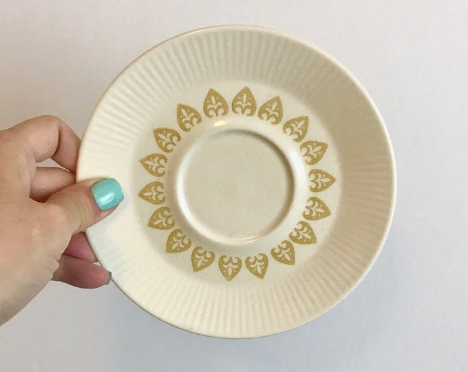 Eight (8) Vintage Saucers Sheffield China in Serenade, yellow medallions, ribbed edge, mcm, replacement china, yellow white, vintage kitchen