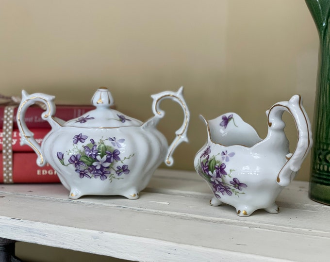 """Stunning Hand Painted Vintage Covered Sugar Bowl & Creamer in """"Spring Violets"""" by Rossetti China Company Chicago U.S.A. Made in Japan, 1960s"""