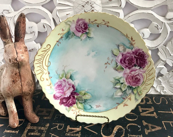 """Absolutely Gorgeous Antique Oscar and Edgar Gutherz O&EG Royal Austria Hand Painted Roses on Round Porcelain Platter signed by artist """"DSW"""""""