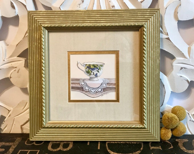 Arnie Fisk Framed Double Matted Art Print of Teacup w/Mother Blue Jay & baby on a Doily, gift for mom, nursery decor, cottage, kitchen decor