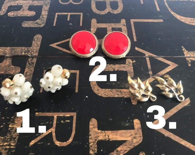 1950s Clip-on Earrings, W Germany, Coro Earrings, Red, gold, white, vintage costume jewelry, gold-tone, gift for mom
