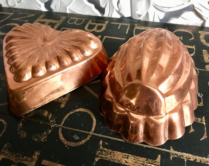 Two Copper Gelatin Molds. One heart shaped & one oval with scalloped edge, Vintage kitchen, French country kitchen, Wall decor, Cottage Chic