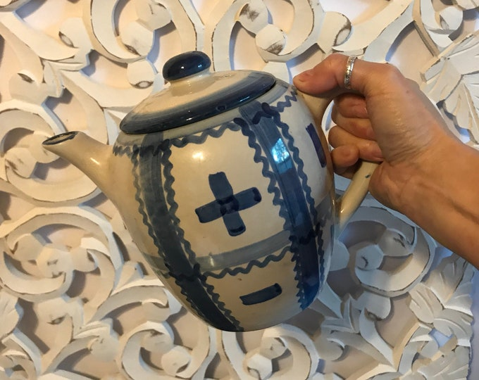 Vintage Salt Glazed Stoneware Teapot Grayish White with Blue Stripes, Dashes & Crosses, cottage chic, farmhouse kitchen, salt glazed pottery