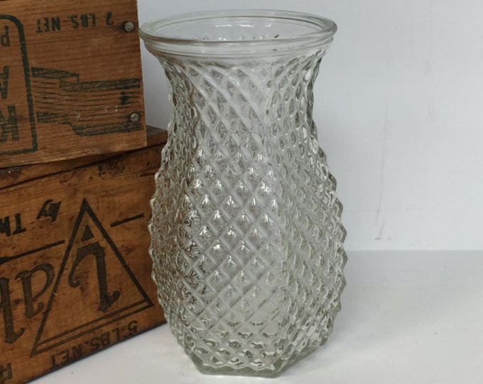 Pressed Glass Vase Hoosier Clear Diamond Pattern 4071 Hexagon Wedding Centerpiece Floral Arrangement US Shipping Included