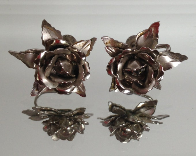Vintage Bugbee and Niles Co. Silver Rose Earrings silver B and N 1950s rhinestone floral screw back gift for her costume jewelry wedding