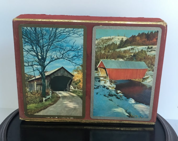 Vintage 1957 Congress 606 U.S. Playing Card Company Covered Bridge Two Complete Decks with Original Velour Box. Ace of Spades Marked X 1676