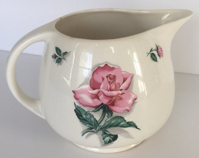 Beautiful Vintage Household Institute Ceramic Pitcher w/Roses 48 oz Pitcher  Rhythm Rose Pattern, cottage decor, shabby chic, wedding decor