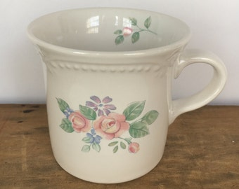 Vintage 1980s Pfaltzgraff Flat Cup / Mug in the Rosalinda Pattern 1983-1985 Five (5) Mugs Available