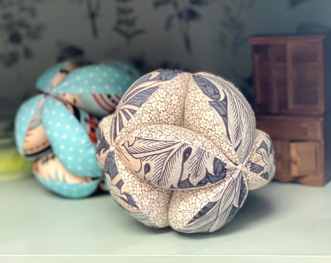 Made to Order! 3 day lead. Adorable handcrafted stuffed puzzle balls made from soft & fabric vintage fabrics,baby shower gift, gift for baby