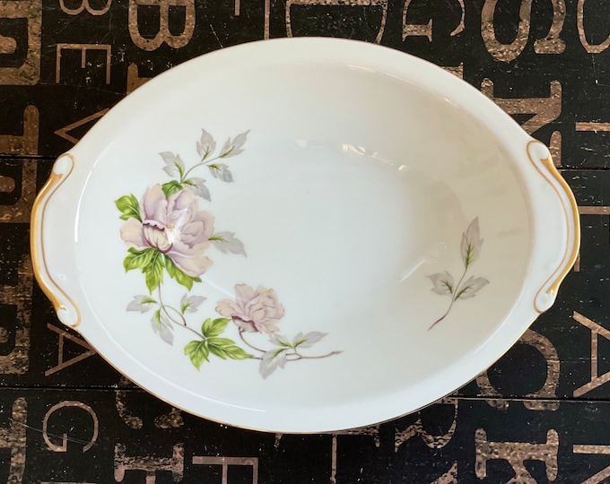 Vintage China Vegetable Bowl in Peony by SEYEI White, Pink, Flowers,Green Leaves,Smooth edge,2104,openstock,fine china,1958,
