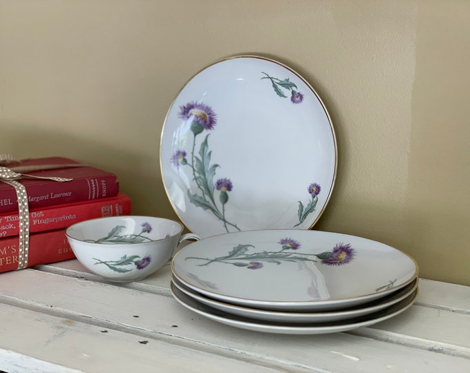 Four Beautiful Fine China Purple Thistle Luncheon Plates & One Tea Cup Marked Hutschenreuther Selb Bavaria, gift for her, Scottish Thistle