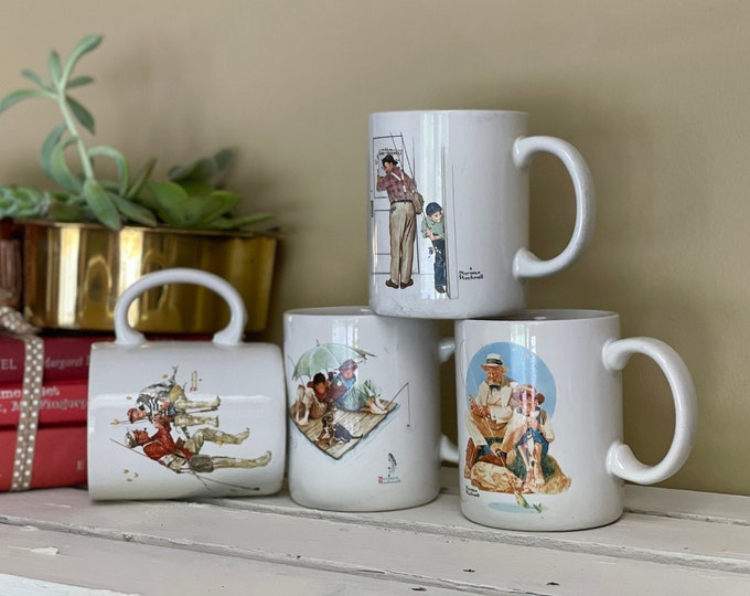 1987 Norman Rockwell Mugs, Set of 4, Museum Collections Inc, Closed for Business, Catching the Big One, Trout Dinner, Fisherman's Paradise