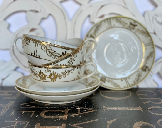 Set of Three (3) Vintage Nippon Porcelain Fine China Tea Cups and Saucers, White with gold trim, high tea, tea time,