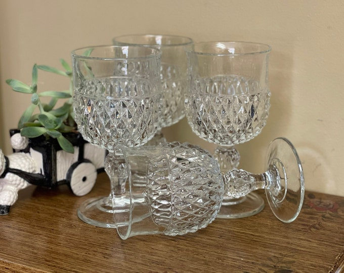 Set of 5 (1 glass missing from photos)  Sparkling Clear Goblets by Indiana Glass Co in Diamond Point pattern,large wine glasses ,vintage bar