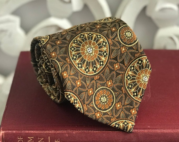 Vintage 1970s Golden Clasp Tie by Prince Consort Medallion design in browns, gold and burnt orange, gift for dad, Father's Day,Groomsmen Tie