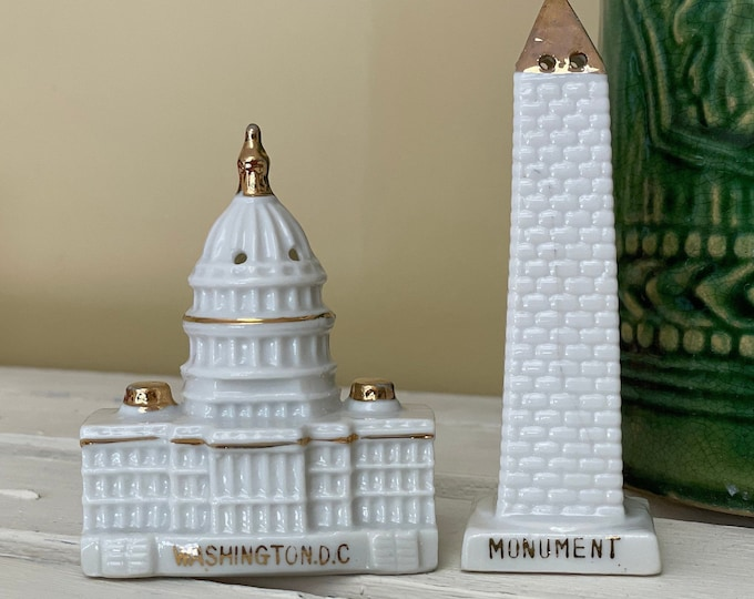 Washington D.C. Salt and Pepper Shakers Washington Monument Salt Shaker and U.S. Capitol Pepper Shaker White Ceramic with Gold Accents