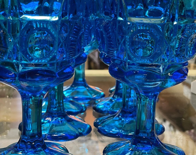 Gorgeous Kanawha Glass Company Stunning Blue Pressed Glass Water Goblets in the Bull's Eye and Daisy Pattern