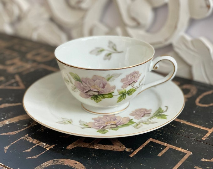 Vintage China Tea Cup and Saucer in Peony by SEYEI Pink,Flowers,Green Leaves,2104,openstock,fine china,1958,minimum guarantee