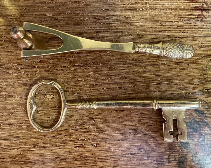 Vintage Solid Brass Virginia Metalcrafters Key &/or Solid brass candle snuffer w/pineapple handle, key to city, candle lover,graduation gift