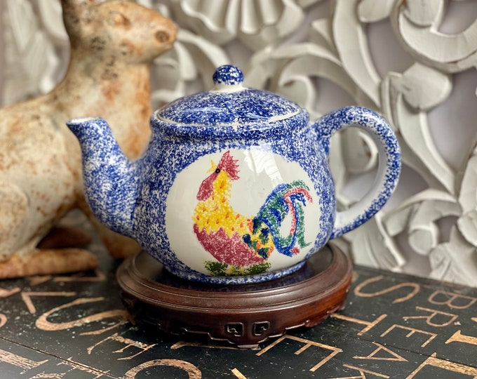 1990s Blue and White Spongeware Teapot with a Colorful Rooster Motif, country kitchen, farmhouse kitchen,