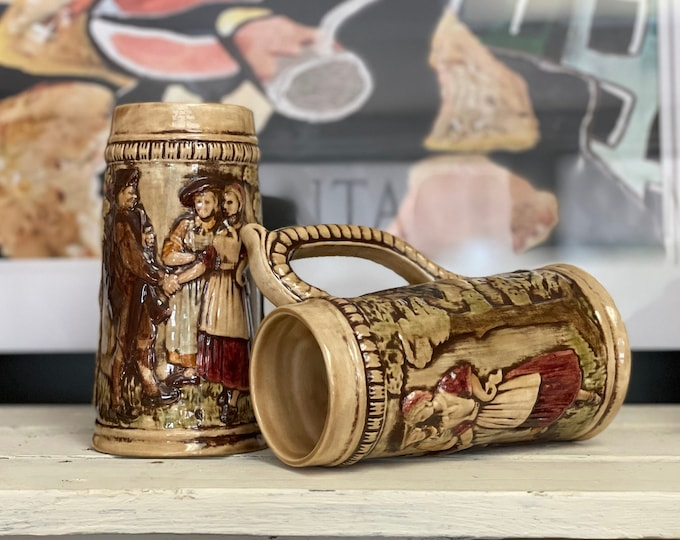 """Two Hand Painted Stein Style Mugs signed """"HUFFMAN"""",Father's Day gift,gift for dad,pub decor,gift for him,beer lover,bar decor,groomsmen gift"""