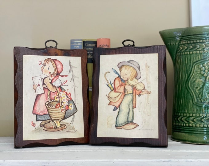Two 1970s Vintage Hummel Plaques decoupage Hummel postcards made into wall decor wooden plaque brass hanger
