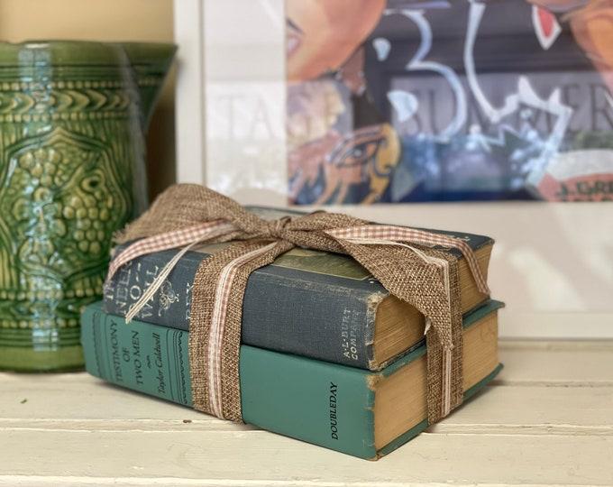 "Vintage Blue Book Bundle""Testimony of Two Men"" & ""The Ne'er Do Well"" office decor,book lover,blue decor, vintage books, library, shelf decor"