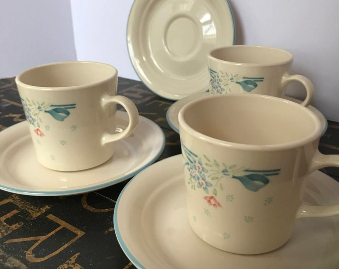Vintage Corelle Three Flat Cups & Four Saucers in Symphony by Corning, country kitchen, farmhouse kitchen, vintage corning, vintage corelle