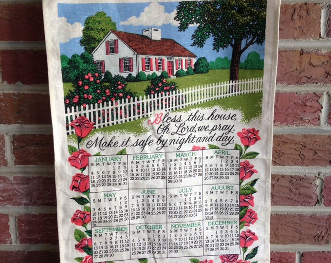 Vintage 1987 Linen Kitchen Calendar Towel linen 1980s kitchen decor, birthday gift, anniversary gift, roses, white, pink, millennial present