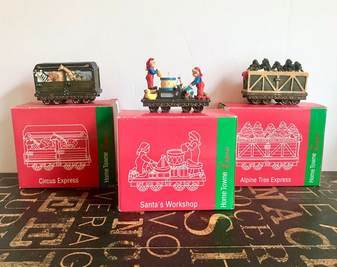 Vintage JCPenney Home Towne Express 1998 Edition, Circus Express, Alpine Tree Express,Santa's Workshop, Christmas Decor, Resin Train set,