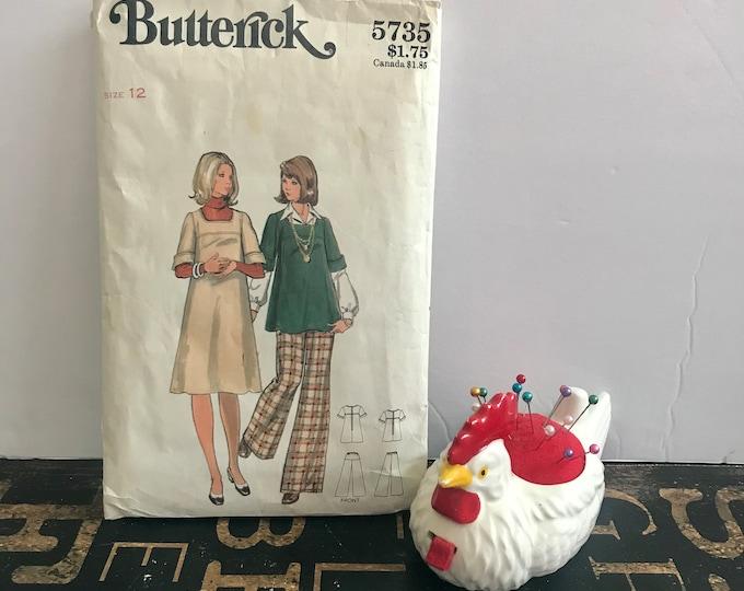 1970s Vintage Butterick Maternity Pattern 5735, size 12, A-line Jumper or Top & elastic waist flared pants, vintage pattern, vintage