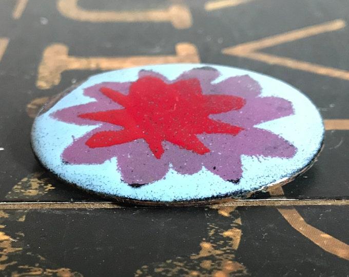 Enamel Copper Abstract Flower Brooch, Mid Century Modern, 1960s, Red, Purple, Light Blue, Enamel Pin, Enamel Brooch, vintage Jewelry,