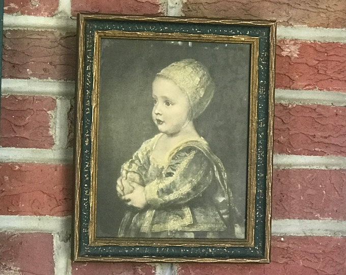 Antique Alfred S. Campbell Art Company Print Little Girl Holding Potato in original frame (1840-1912),wall decor,kitchen decor,lithograph