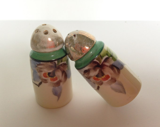 Cottage Chic Hand Painted Floral Salt and Pepper Shakers Browns, Grey, Green, Orange, gold trim & Cream colored base