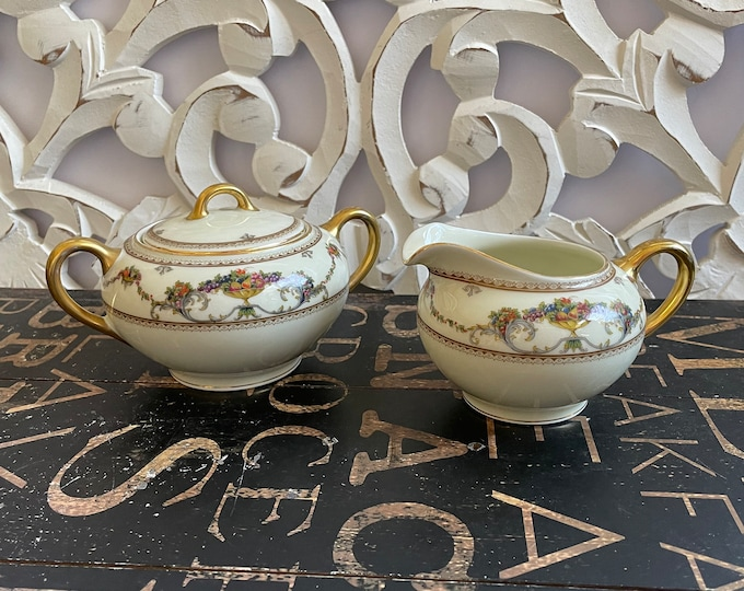 Bohemia Royal Ivory China Creamer and Sugar with lid in the Exquisit Festival Fruit pattern, holiday table, replacement china, high tea,