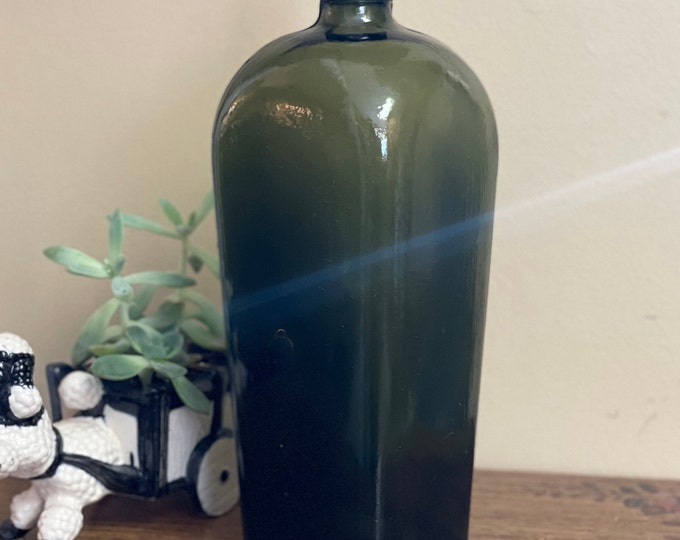 Antique Collectible Glass 1800s Gin Bottles, coffin shaped bottle, green glass,old liquor bottle,gift for dad,Father's Day gift,unique glass