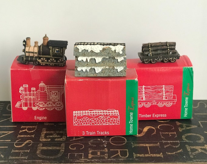 Vintage JCPenney Home Towne Express 1998 Edition, Timber Express, Engine or Train Tracks, Christmas Decor, Resin Train set, Christmas Train