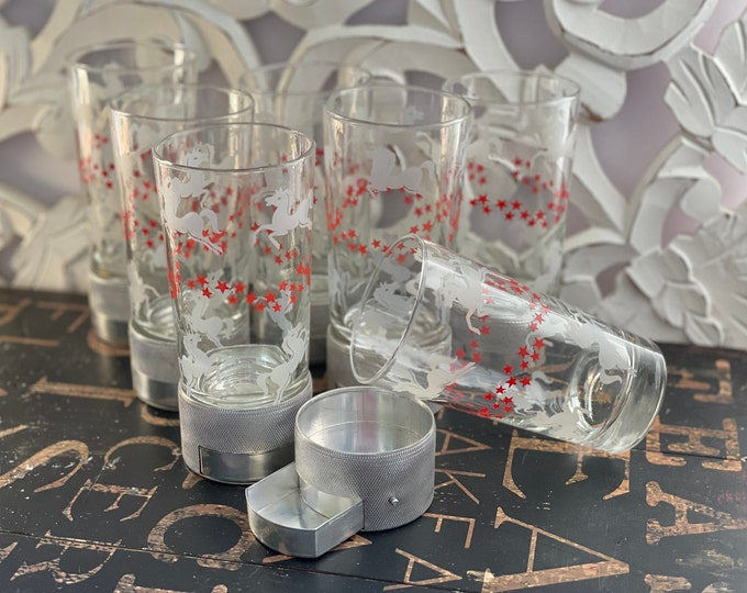 1950s Mid Century Modern Libbey Horses & Stars Glasses w/metal base with retractable ashtray, red stars, white horses, MCM, vintage bar ware