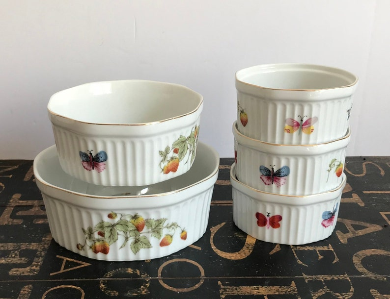 Five Lenwile-Ardalt Porcelain Oven Safe Butterflies /& Berries Mini Souffl\u00e9 Dishes Patterns 6970 and 6512 Japan individual souffl\u00e9