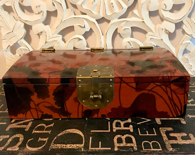 Beautiful Vintage Writing Box w/ Engraved Brass accents, Lacquer Like Finish, Floral Design, Kanji Paper Lining, Office Decor, Gift for her