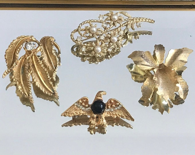 Vintage Brooches Choose One or Buy the whole lot, iris, eagle, leaves, pearls, vintage costume jewelry, 1940s, 1950s, 1960s gold brooch, pin