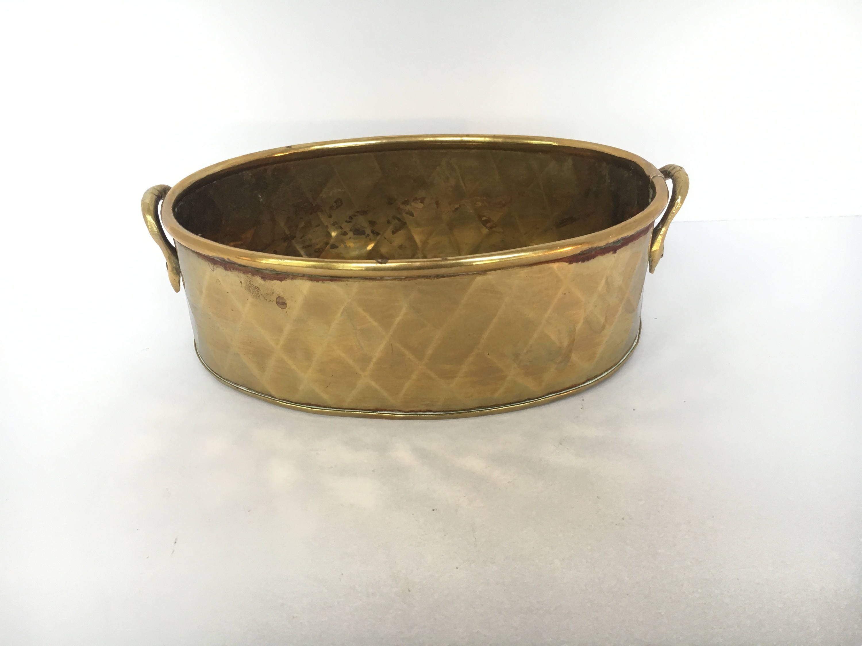 Small Brass Oval Planter W Trellis Design 2 Handles Made In Etsy