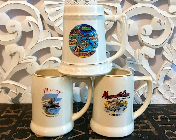 Ceramic Collectible Souvenir State Beer Stein/Mug Sold Individually or as a Set South Carolina, Mississippi, Kentucky, State Souvenir Stein