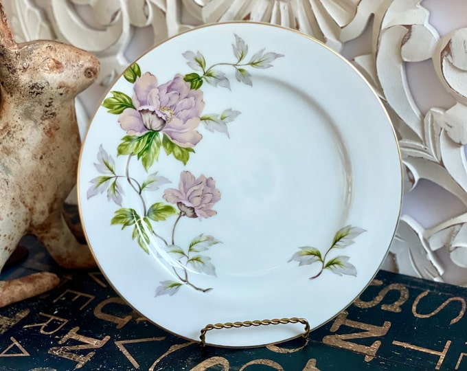 Vintage China Dinner Plate in Peony by SEYEI White, Pink, Flowers,Green Leaves,Smooth edge,2104,openstock,fine china,1958,minimum guarantee