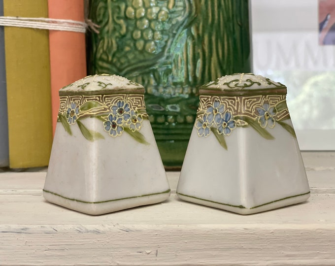 Hand Painted Salt and Pepper shakers with Blue Cosmos Green Leaves and Art Nouveau design On Top