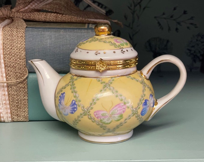 Vintage Formalities Baum Brothers Miniature Teapot with hinged lid, figural teapot Limoges style box, gift for mom, Mother's Day, tea lover