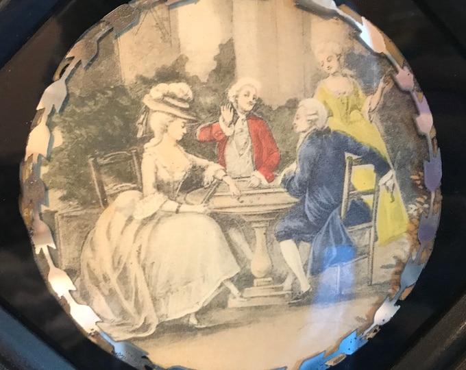 Mid Century Hand Colored Art Gravure Colonial Revival Prints, Mirrored Glass Frames, Sungott, Vintage decor, boudoir decor, shabby chic