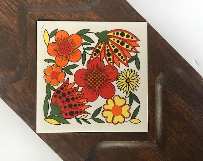 Vintage 1960s Wooden Maison International Ltd. Cheese Platter Snack Tray w/Ceramic Tile Insert w/Orange, Yellow & Red Stylized Flowers, boho