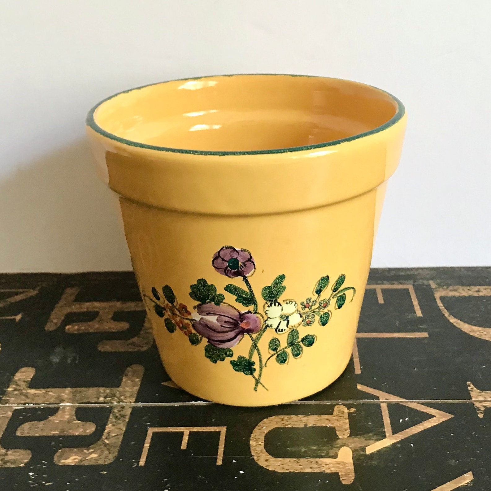 Vintage Hand Painted Italian Ceramic Flower Pot Yellow Painted
